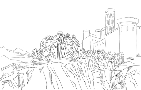 Jesus Rejected In Nazareth Coloring Page Super Coloring