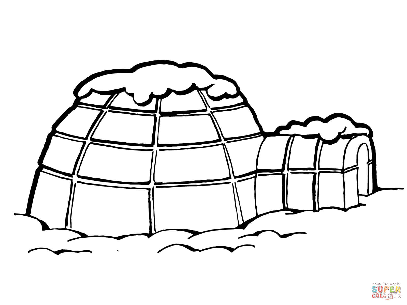 Igloo With Snow On Roof Coloring Online