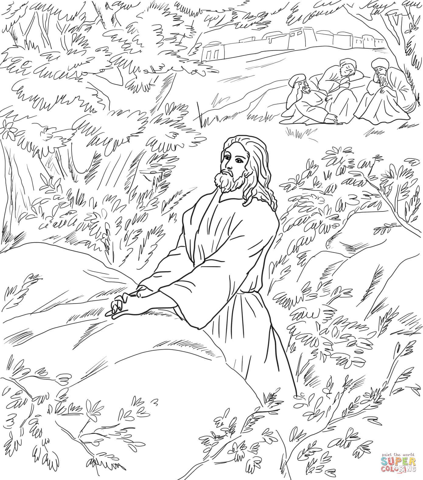 Jesus Pray In The Garden Of Gethsemane Coloring Online