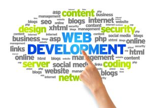 Hand pointing at a Web Development Word Cloud on white background.