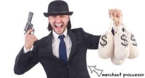 modern day crook wearing a hat holding a gun and bags of money