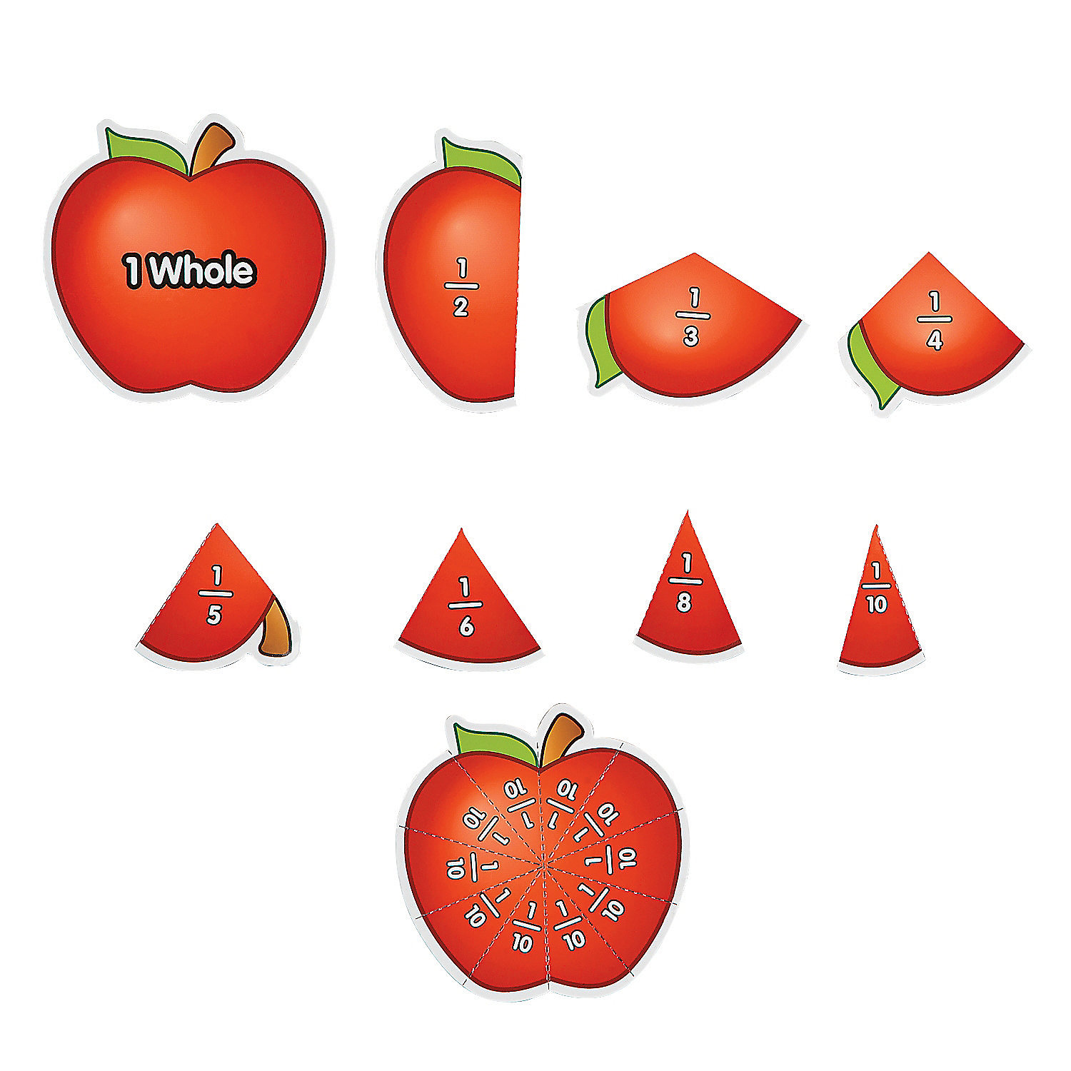 39 Piece Apple Fractions Magnet Set