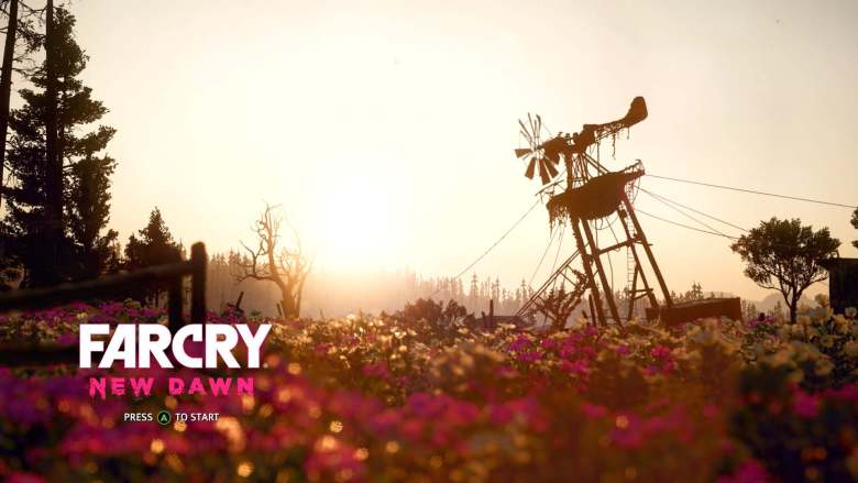 Far Cry New Dawn Title Screen with Tilting Windmill