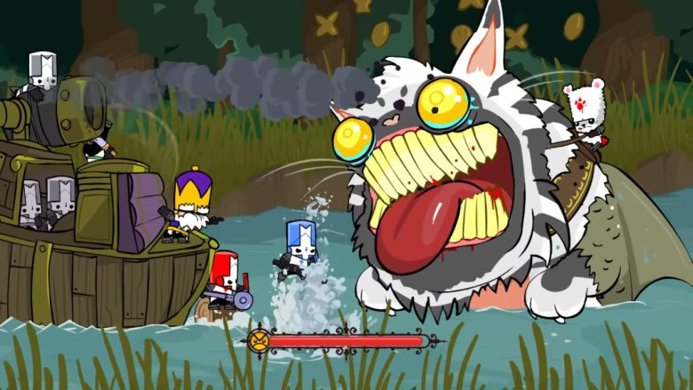 Castle Crashers Fight a Giant Catfish