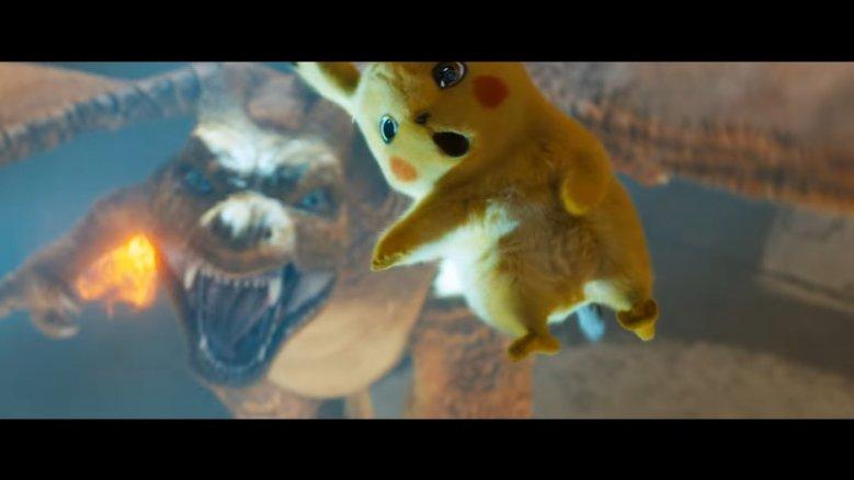 Pikachu Jumping Away from Charizard