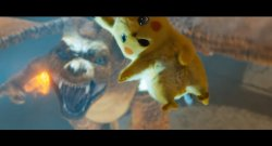 Pikachu Jumping Away from Charizard