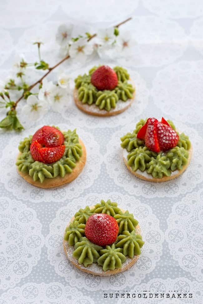 Strawberry tartlets with matcha pastry cream