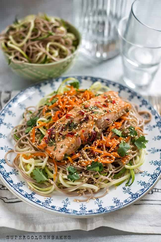Supergolden Bakes: Easy salmon with soba noodles