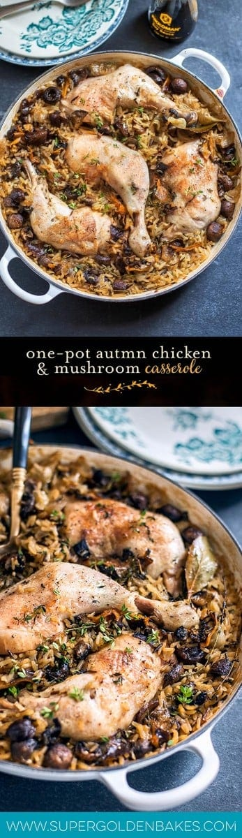 This one-pot chicken and rice casserole with wild mushrooms and chestnuts is packed with flavour. A fantastic comfort food dish the whole family will love | Supergolden Bakes