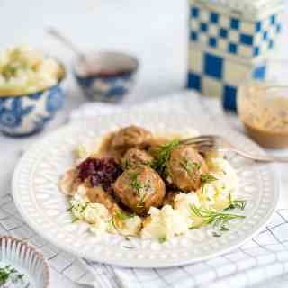 Swedish meatballs served over mashed potatoes