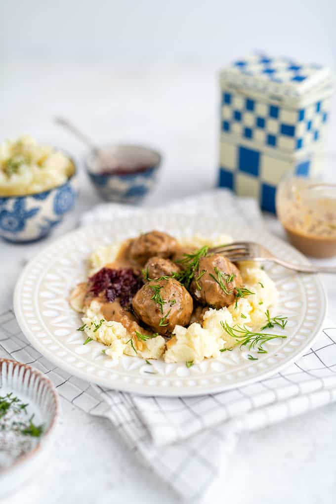 Swedish meatballs served over mashed potatoes