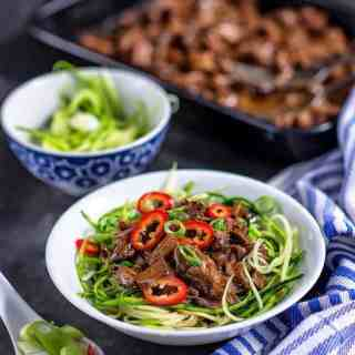 This slow cooker Chinese pulled beef is such a recipe – definitely anything but boring and so easy! Serve with courgette (zucchini) noodles or a mix of courgette and egg noodles for a filling meal and nice way to celebrate the Chinese New Year