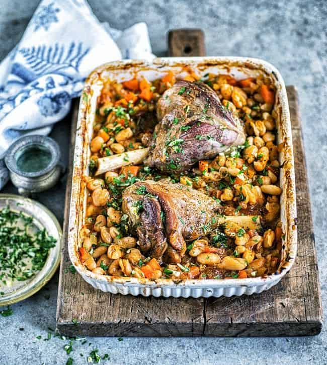 One-pot slow-roast lamb shanks with beans