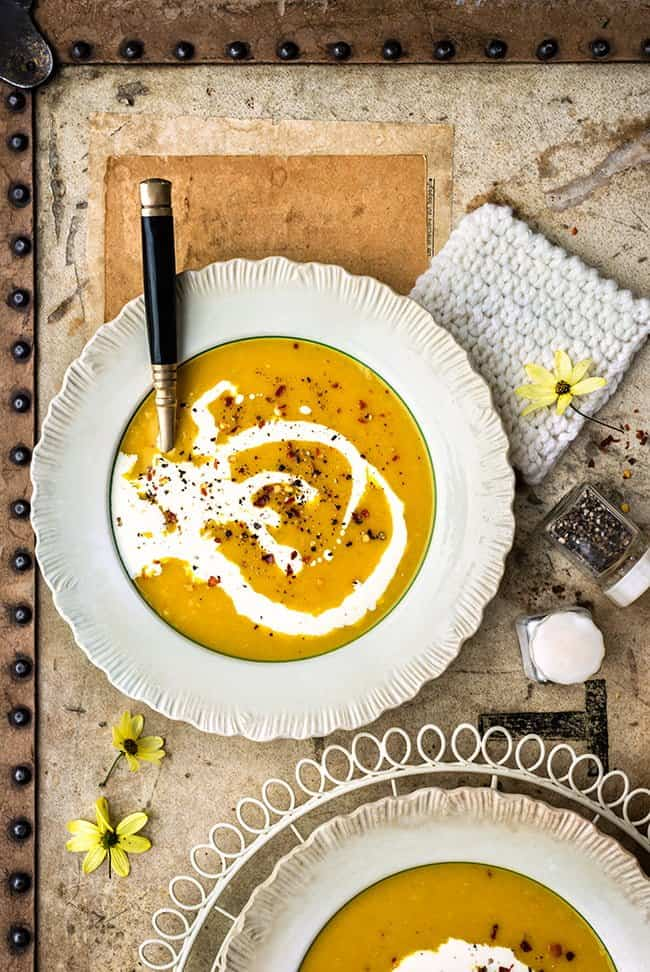 Vegan red lentil soup with carrots and parsnips
