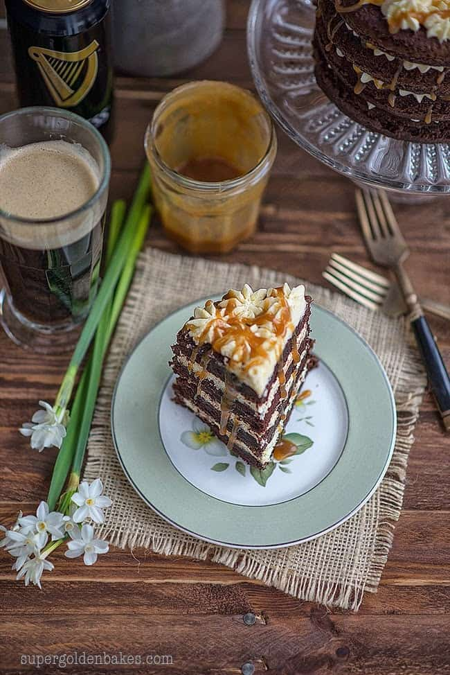 Guinness Black Magic Cake with ermine frosting and whiskey caramel - perfect for St. Patrick's day!