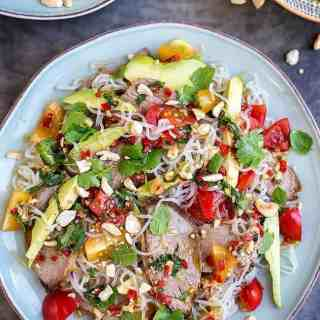 This Thai lamb salad is perfect for using any leftover roast lamb. Made with miracle (konjac) noodles it is a good meal for those on low calorie diet.