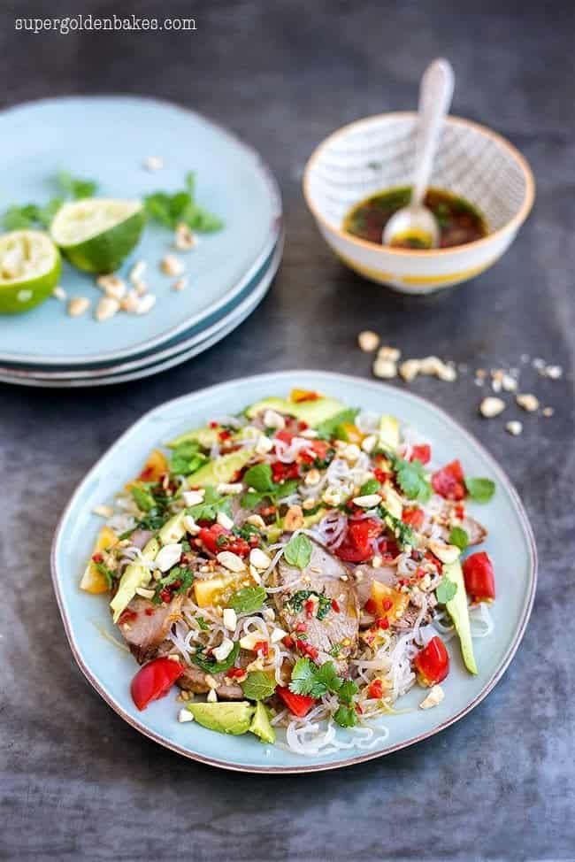 This Thai lamb salad is perfect for using any leftover roast lamb. Made with miracle (konjac) noodles it is a good meal for those on 5:2 diet.