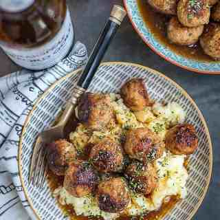 Herby pork meatballs in ale gravy - destined to become your new family favourite.