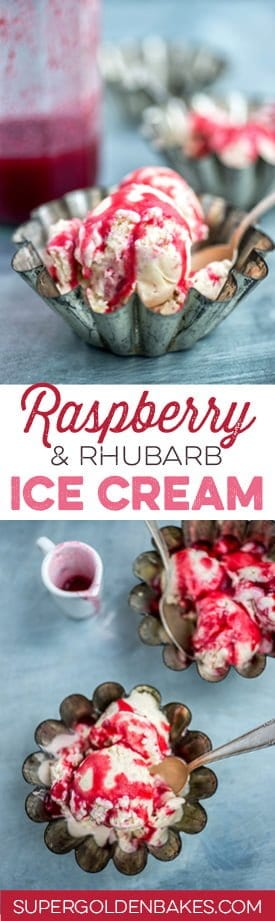 Rhubarb and raspberry ice cream