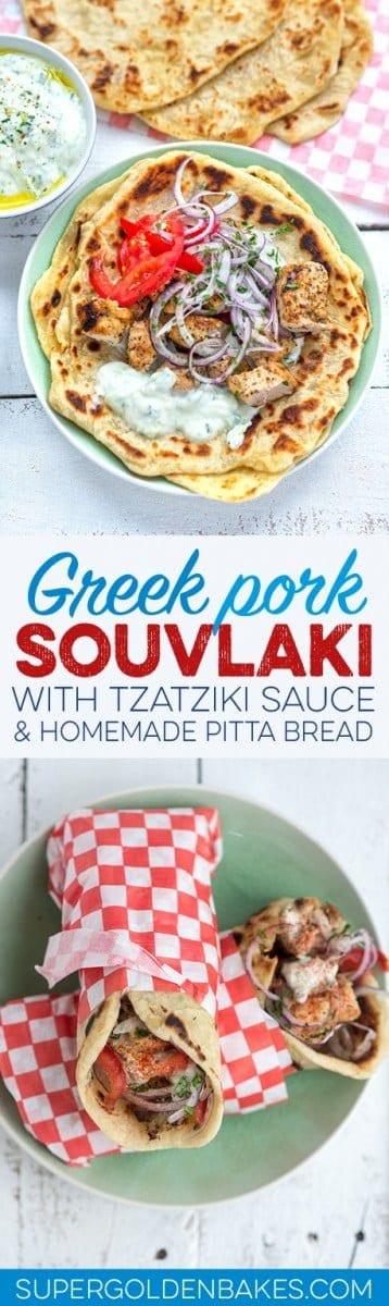 Traditional Greek pork souvlaki with tzatziki sauce