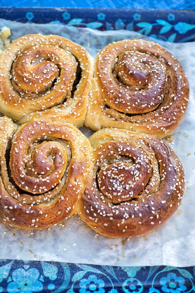 Sweet and sticky honey tahini buns