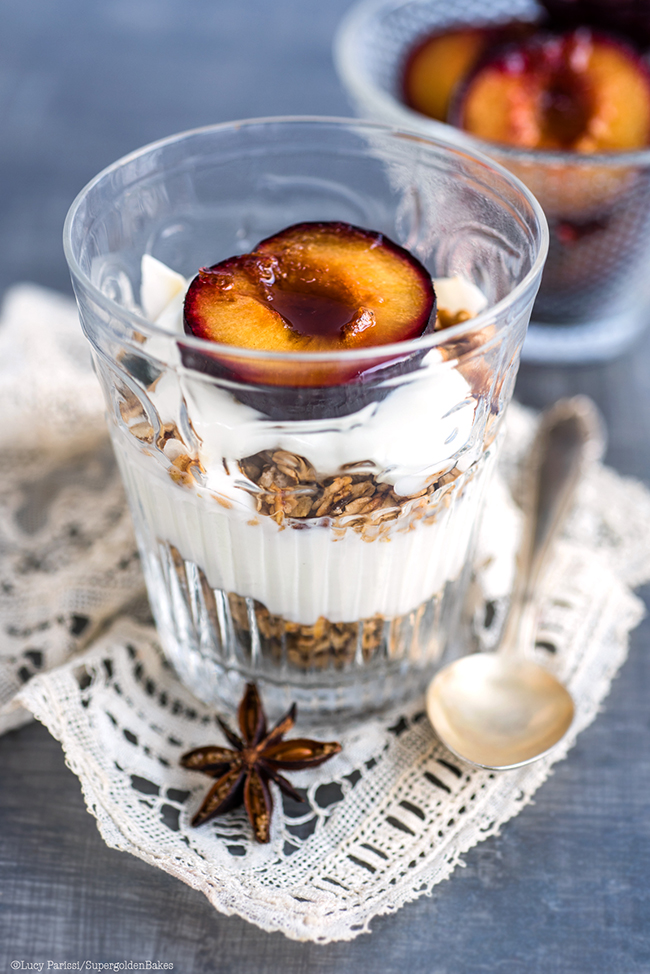 Homemade yoghurt with spiced roasted plums and granola