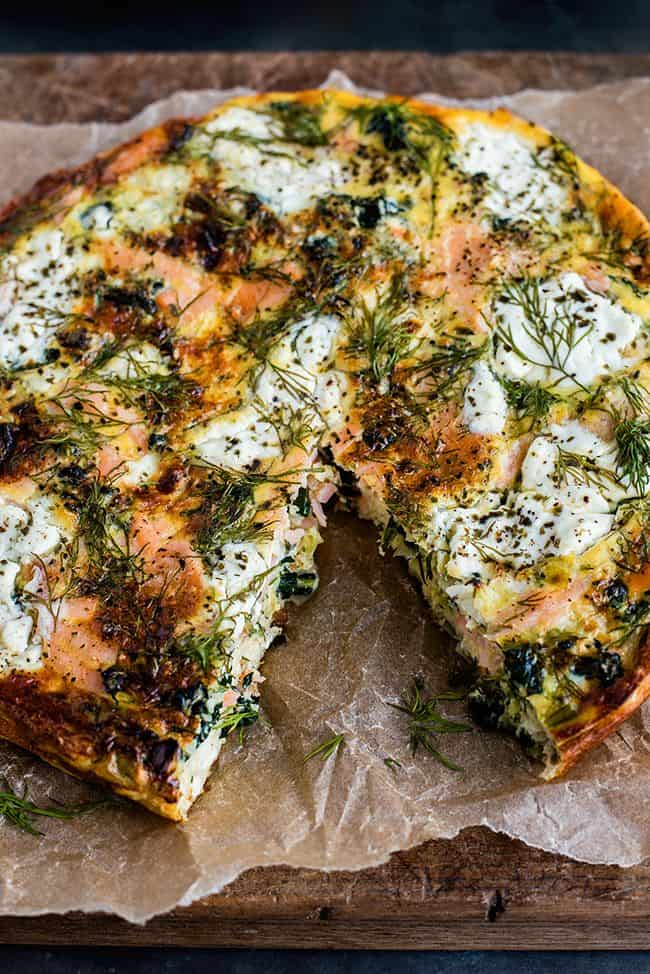 Cottage cheese kale and smoked salmon frittata