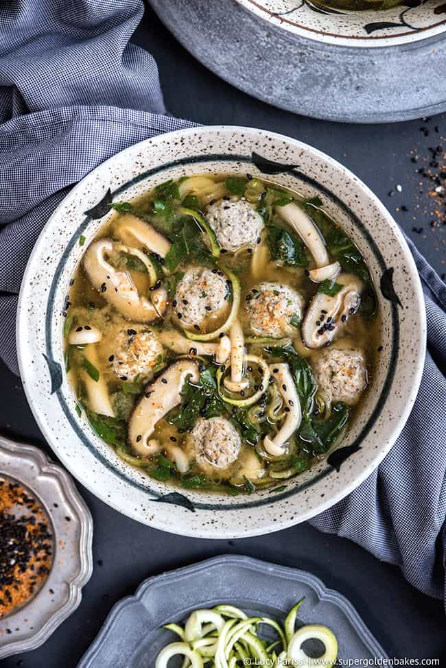 Japanese Wedding Soup (a.k.a Miso Soup with Turkey Meatballs and Zoodles)