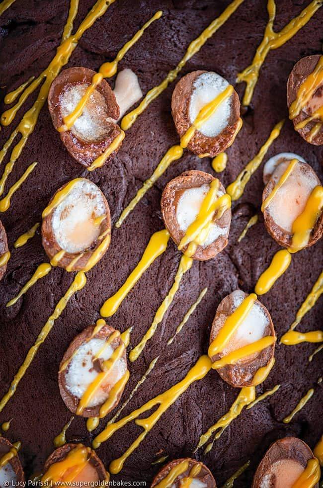 Creme Egg Brownies close up