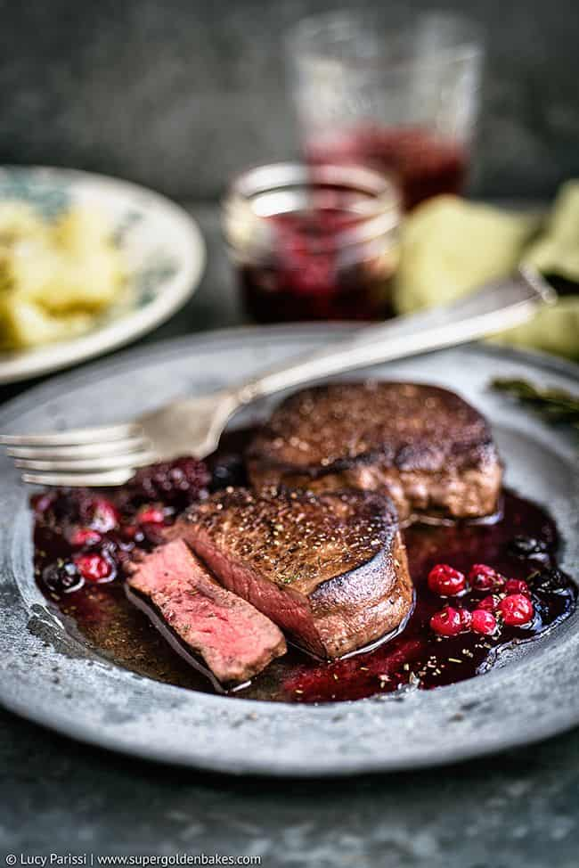 Venison Steak with Port and Red Berry Sauce | Supergolden Bakes