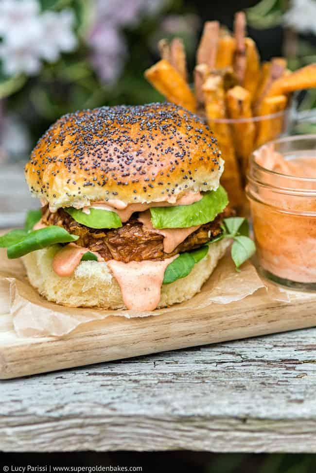 Veggie Burger with Avocado and Sriracha Dressing on Hawaiian Bread Rolls
