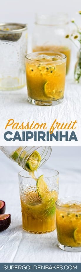 A refreshingly tangy take on is Brazil's national cocktail, this passion fruit Caipirinha is perfect for summertime.