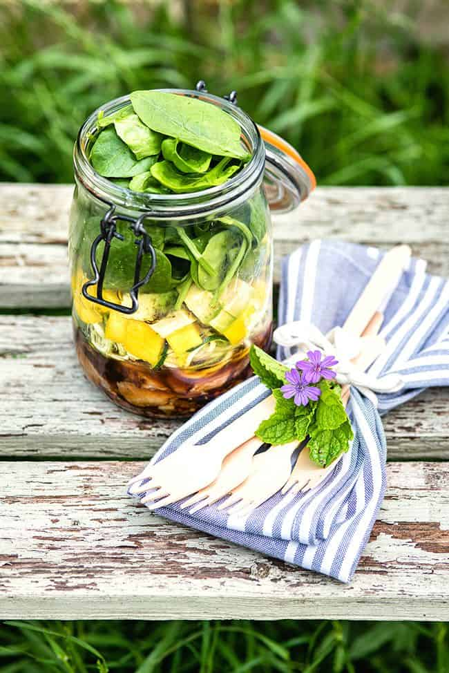 Layer the ingredients in for this Thai beef salad a jar for a delicious - and portable - lunch to eat al fresco or at your office desk.