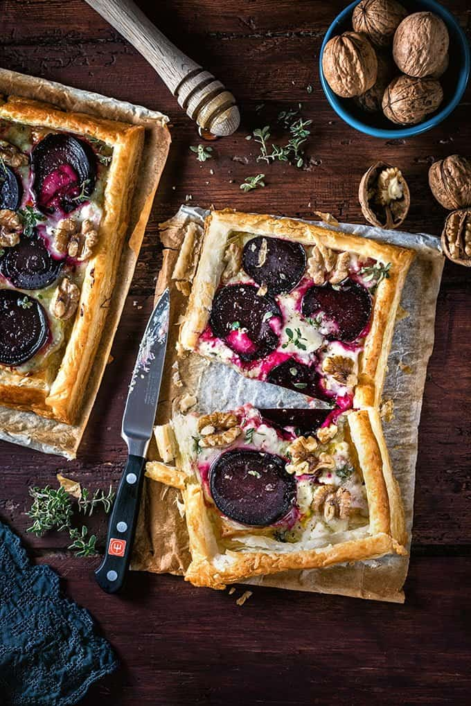 This super-easy goat's cheese and beetroot puff pastry tart makes a great vegetarian starter or light lunch.