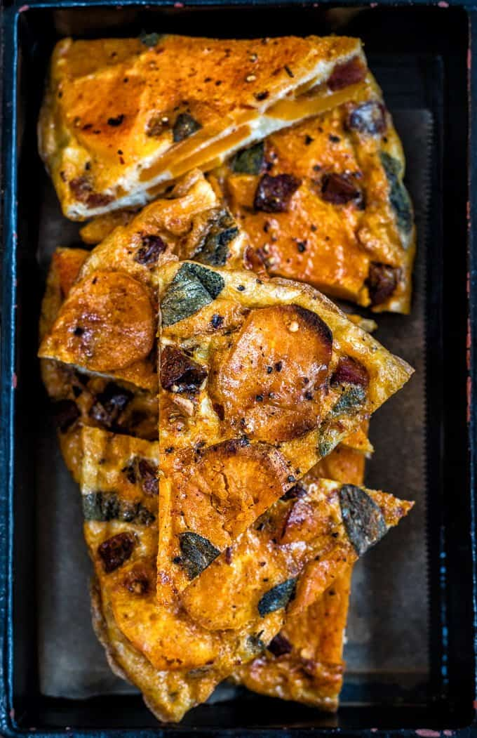 """This Spanish-style tortilla with chorizo, sweet potatoes and squash can be eaten hot or cold and makes a great portable snack. Visit the collaborative board """"DIY bloggers for Volkswagen"""" for more inspiring recipes and ideas. https://uk.pinterest.com/volkswagen/diy-bloggers-for-volkswagen/"""