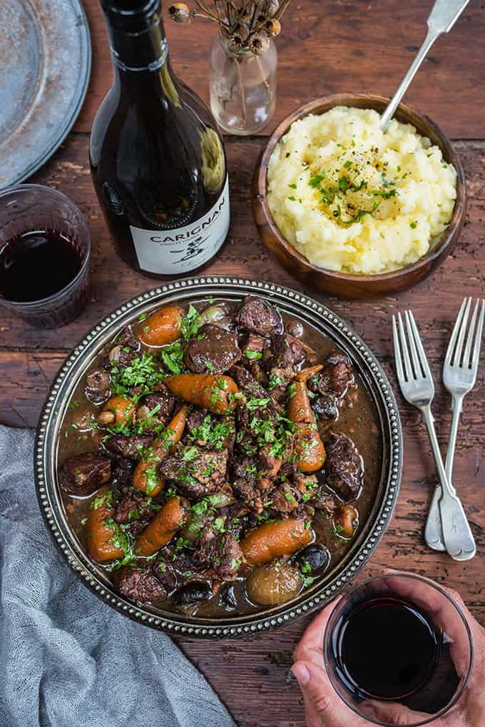 Slow Cooker Beef Bourguignon – a rich French stew with red wine, shallots and mushrooms.