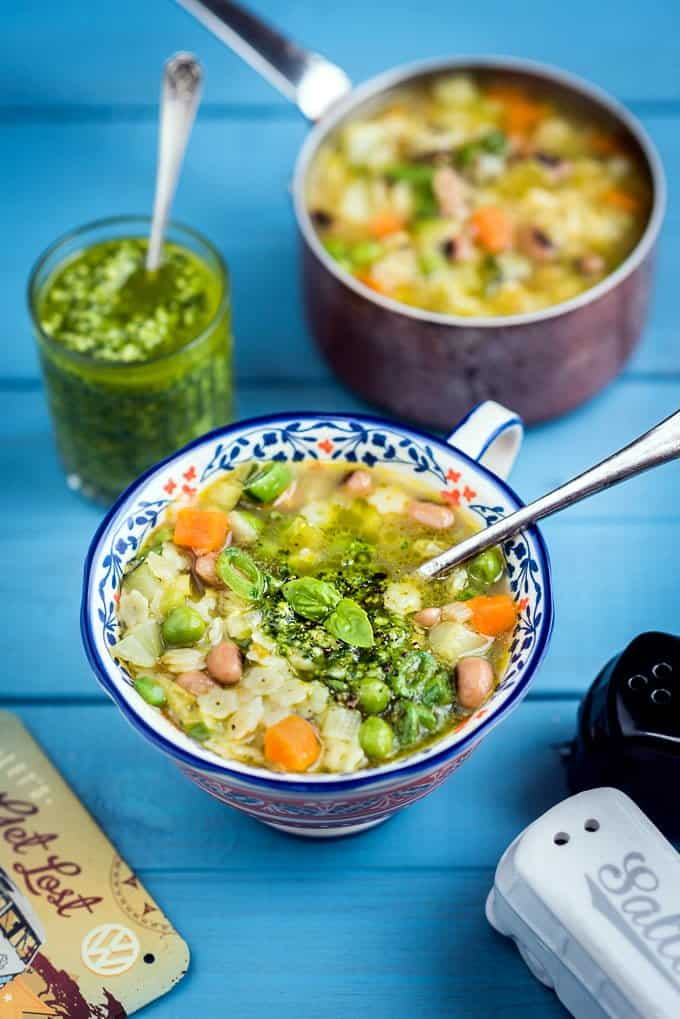 Green Minestrone soup with pistou - a classic Italian recipe with a French twist.