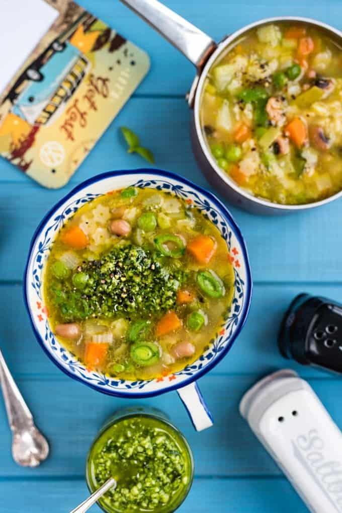 Green Minestrone soup served with pistou