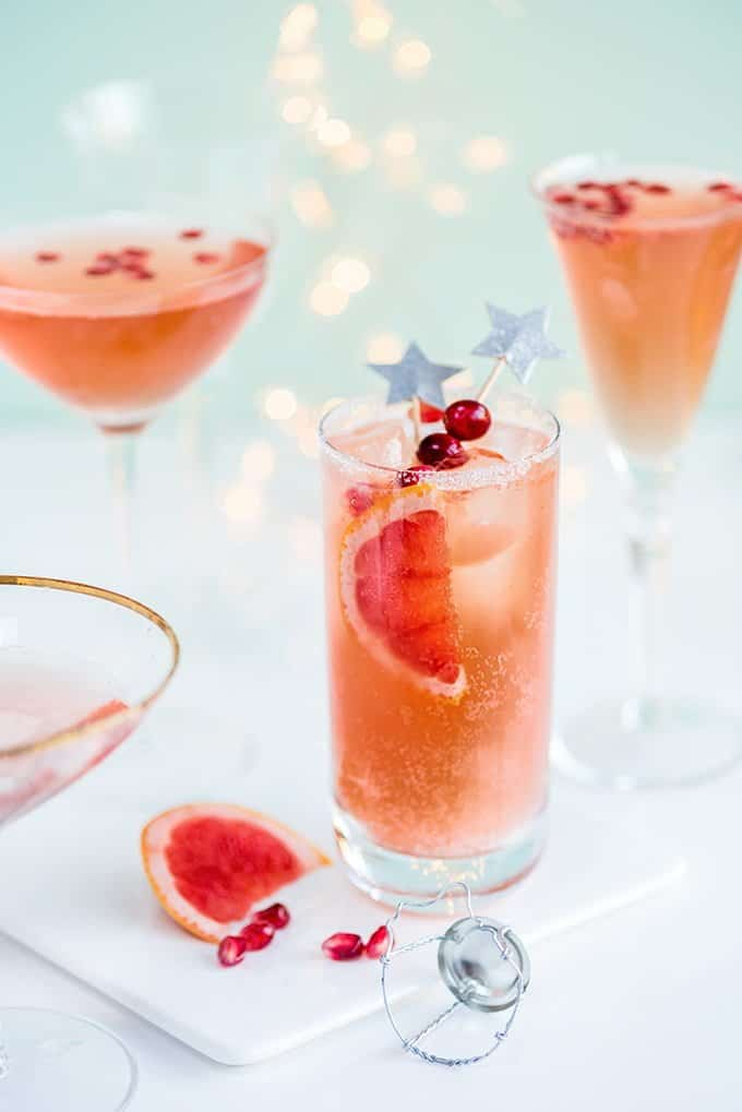Ring in the new year with a sparkly Paloma and a French Kiss cocktails