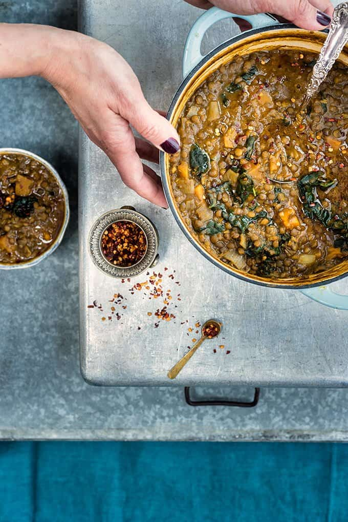 Healthy and hearty, this vegan lentil, sweet potato and kale soup will keep you warm and happy this winter.