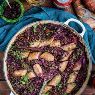 Beer braised cabbage, lentils and sausages