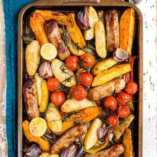 Sausage and vegetable traybake – a super-easy meal that is sure to become a family favourite.