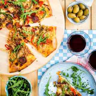 Fully-loaded spicy sausage and pepper pizza – so much better than takeaway and the perfect midweek meal!