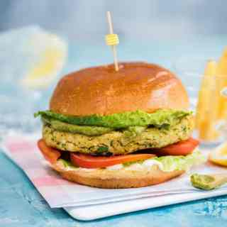 Krabby patty' – crab burger with avocado green goddess dressing – delicious, kid-approved, and ready in minutes!
