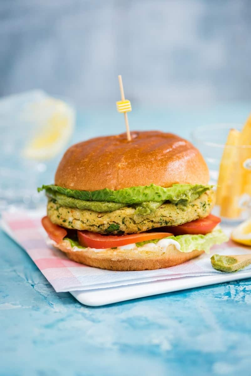'Krabby patty' - crab burger with avocado green goddess dressing
