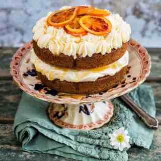 Manuka honey orange pound cake with honeyed cream cheese filling