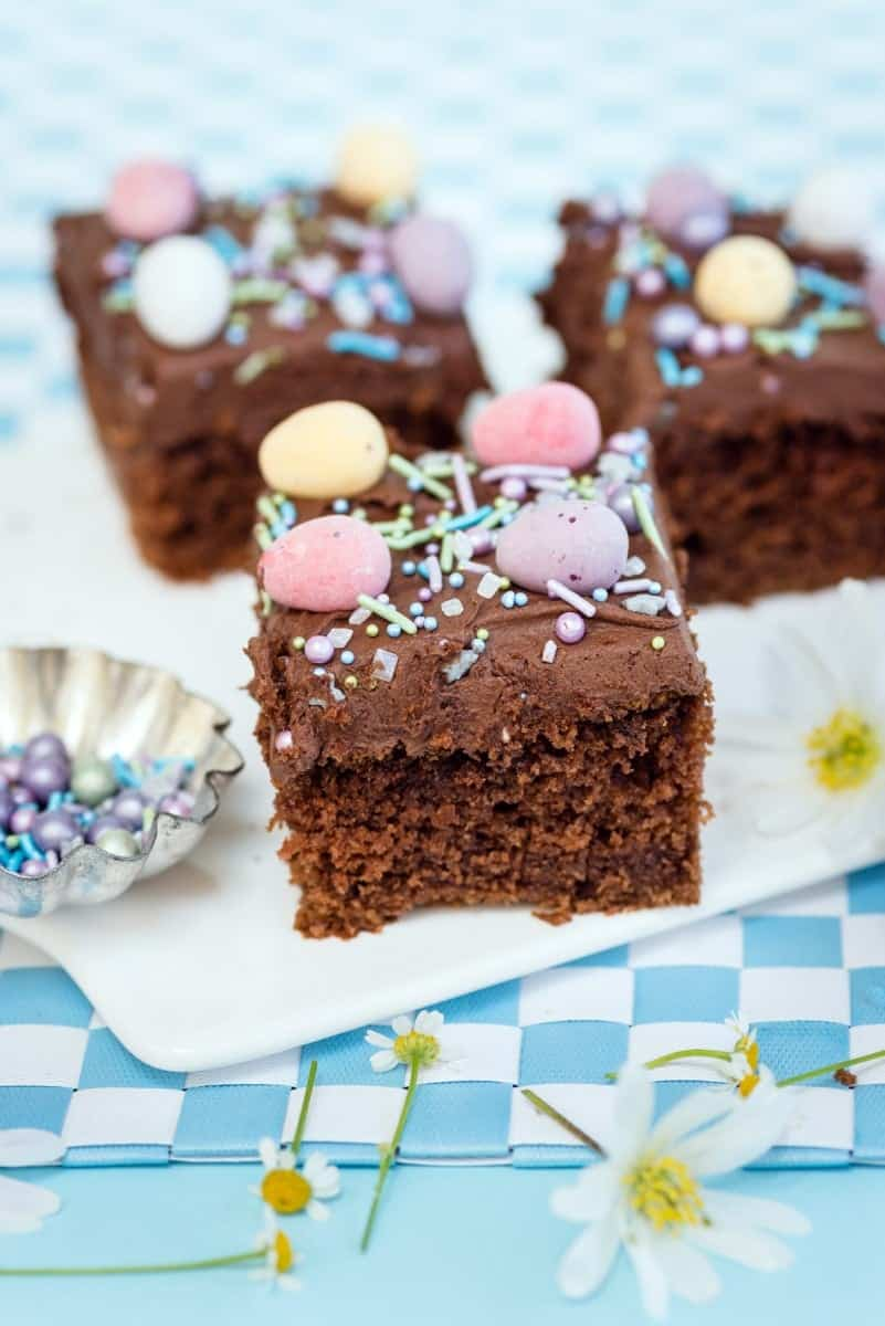 Malted milk chocolate sheet cake - easily made vegan. Perfect for birthdays and celebrations!
