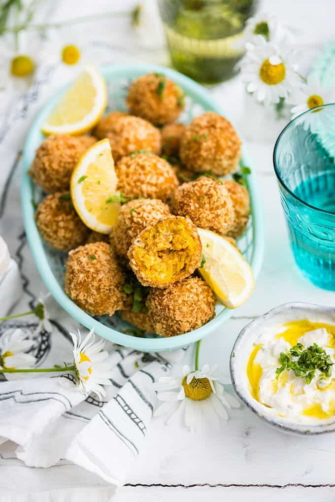 Make these carrot falafel with tahini yogurt dipping sauce to serve as a shared plate or for a vegetarian lunch. Delicious and so easy!