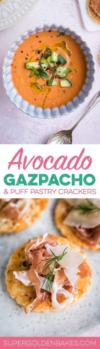 This summery gluten-free gazpacho with avocado and watermelon is basically summer in a bowl! Serve with puff pastry crackers topped with Grana Padano and Prosciutto di San Daniele.