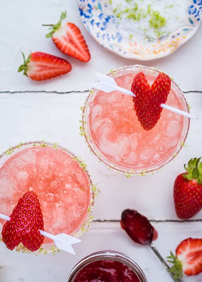 Put your strawberry jam to good use to make a batch of yummy strawberry jam margaritas! Delicous, easy, and a taste of summertime year-round.